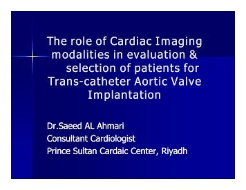 The role of Cardiac Imaging modalities in evaluation & selection of ...