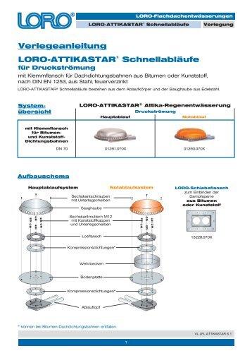 Verlegeanleitung LORO-ATTIKASTAR® Schnellabläufe