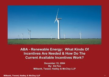 ABA - Renewable Energy: What Kinds Of Incentives Are Needed ...