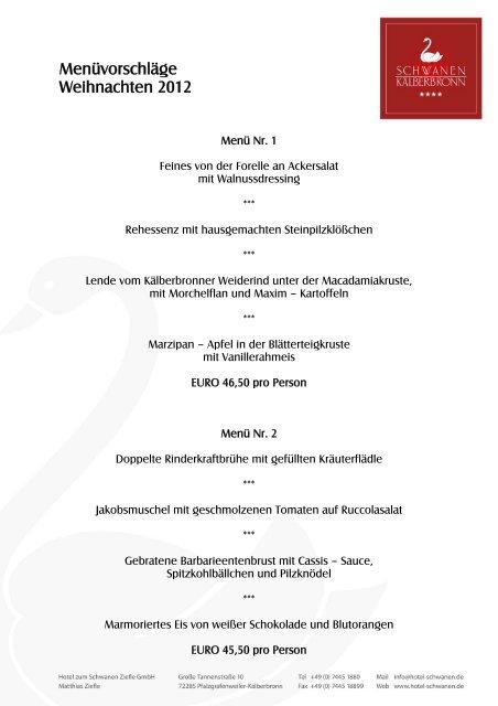 Menüvorschläge Weihnachten 2012 - Hotel Schwanen in Kälberbronn