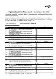 Organisational risk assessment – Governance checklist - VSO