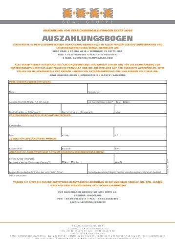 Formular 1 - Krankenversicherungsschutz im Ausland