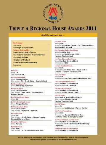 Triple A regionAl House AwArds 2011 - The Asset
