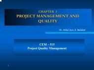 PROJECT MANAGEMENT AND QUALITY - KFUPM Open Courseware