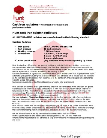 Cast iron radiators - Hunt Heating