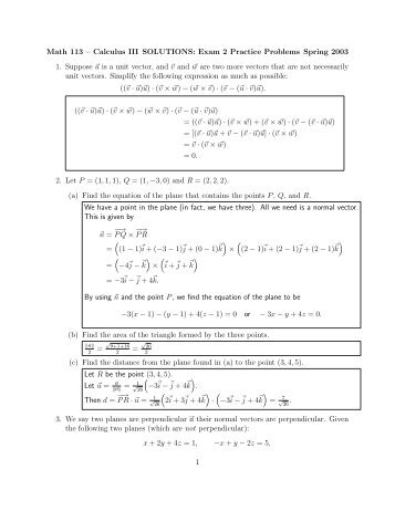 Solutions to Exam 2 Practice Problems