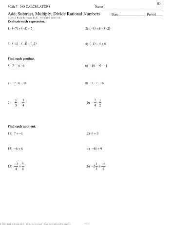 Adding Subtracting Rational Numbers Worksheet - subtracting