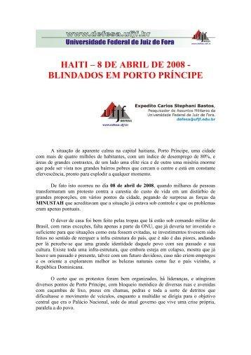 HAITI – 8 DE ABRIL DE 2008 - BLINDADOS EM PORTO PRÍNCIPE
