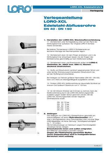 Verlegeanleitung LORO-XCL Edelstahl-Abflussrohre