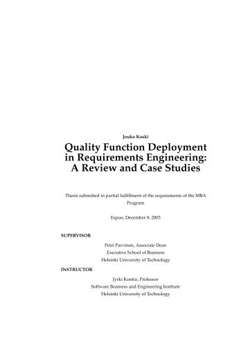 Quality Function Deployment in Requirements Engineering - SoberIT