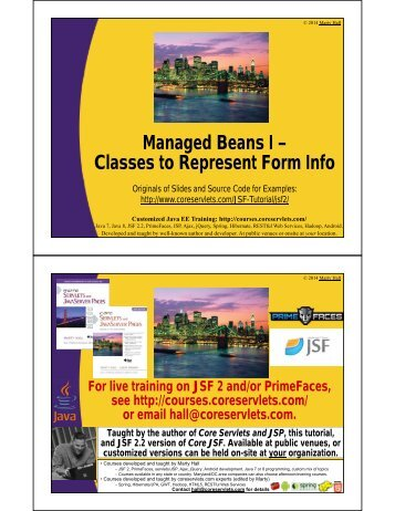 Managed Beans I – Classes to Represent Form Info - Custom ...