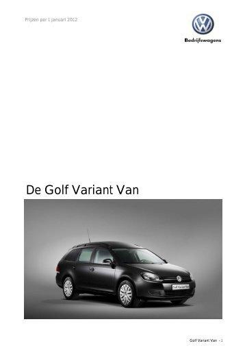 Prijslijst VW Bedrijfswagens Golf VI Variant Van per 01 ... - Fleetwise