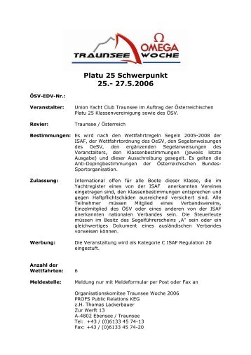Platu 25 Schwerpunkt 25.- 27.5.2006 - Platu25.de