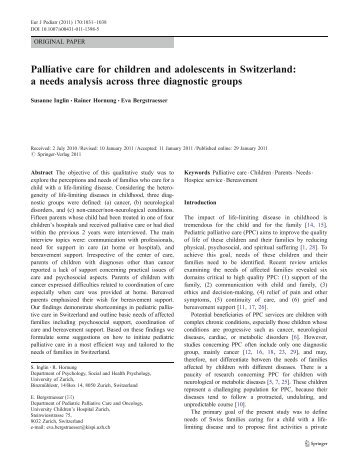Palliative care for children and adolescents in Switzerland: a needs ...
