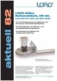 Balkonabläufe, DN 50, nach DIN EN 1253 und DIN 18195 - Loro