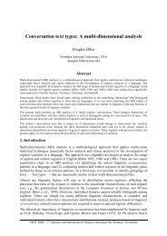 Conversation text types: A multi-dimensional analysis - Lexicometrica