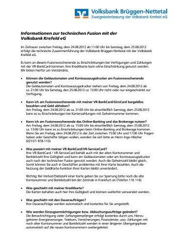 Fragen und Antworten zur Fusion - Volksbank Krefeld eG