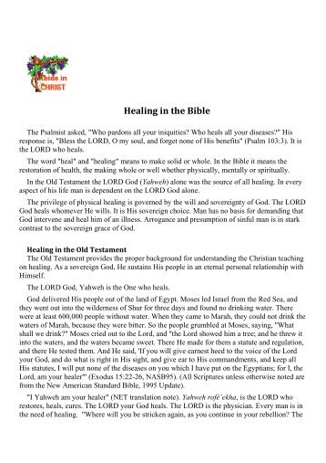 Healing in the Bible - Abide in Christ