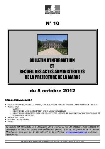 Recueil 10-2012 du 5 octobre - 11,23 Mb - Préfecture de la Marne