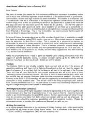 Head Master's Monthly Letter – February 2012 Dear Parents We ...