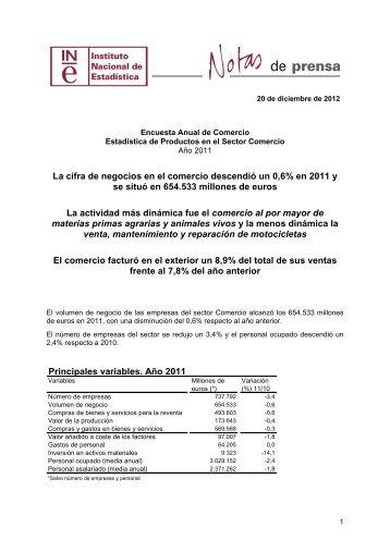Principales variables. Año 2011 - Instituto Nacional de Estadística