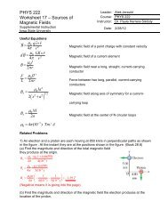 PHYS 222 Worksheet 17 – Sources of Magnetic Fields - Iowa State ...