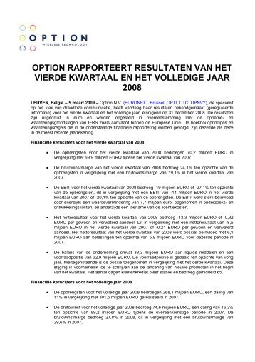 option rapporteert resultaten van het vierde kwartaal en het ...