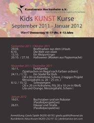 Kids KUNST Kurse - Kunstverein Hockenheim