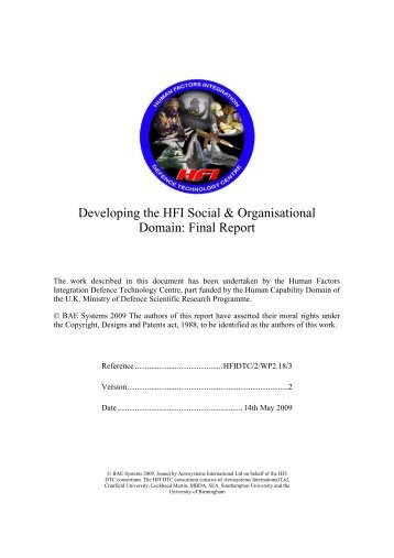 Developing the HFI Social & Organisational Domain: Final Report