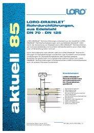 Rohrdurchführungen, aus Edelstahl DN 70 - Loro