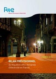 Bilan prévisionnel de l'équilibre offre demande 2011 - RTE