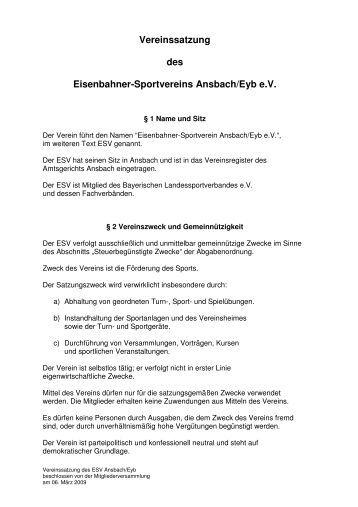 vereinssatzung des eisenbahner sportvereins esv ansbacheyb - Muster Vereinssatzung