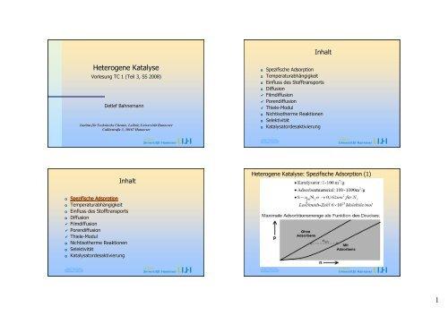 Heterogene Katalyse 3 - PDF - TCI @ Uni-Hannover.de - Leibniz ...