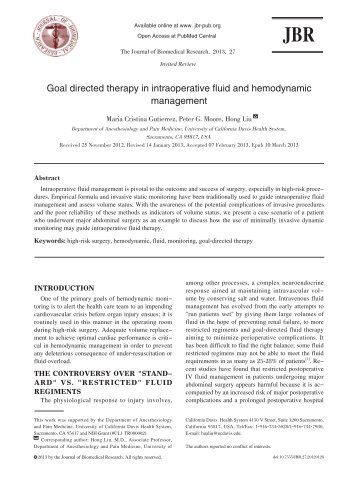 Goal directed therapy in intraoperative fluid and ... - Journal