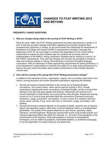 changes to fcat writing 2012 and beyond - Division of Language Arts ...