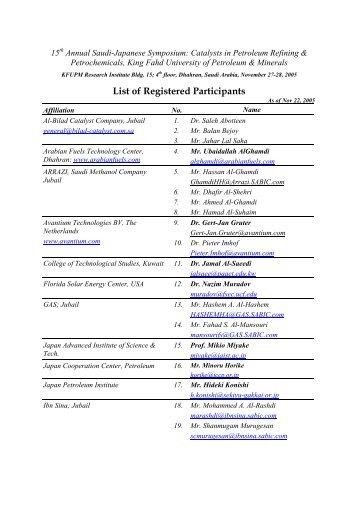 List Of Participants - King Fahd University of Petroleum and Minerals