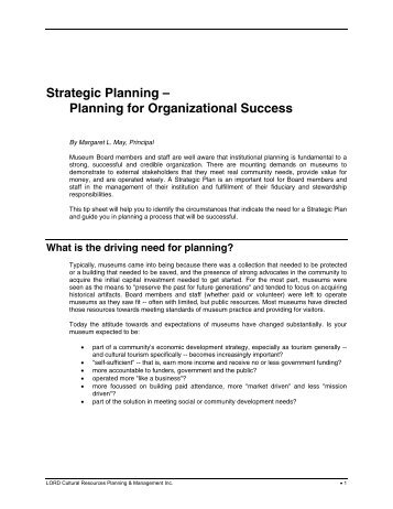Strategic Planning - Lord Cultural Resources