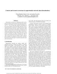 Context and resource awareness in opportunistic network data ... - Cnr