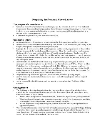 preparing a cover letters