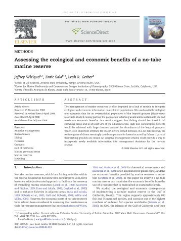 Assessing the ecological and economic benefits of a no-take marine ...