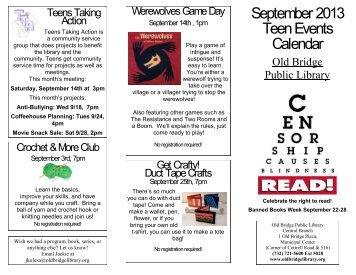 September 2013 Teen Events Calendar - Old Bridge Library