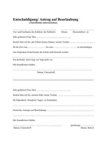 Entschuldigung/ Antrag auf Beurlaubung - Gymnasium Wentorf