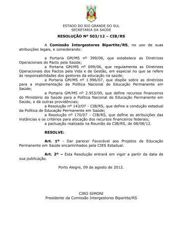 RESOLUÇÃO Nº 503/12 – CIB/RS A Comissão Intergestores ...