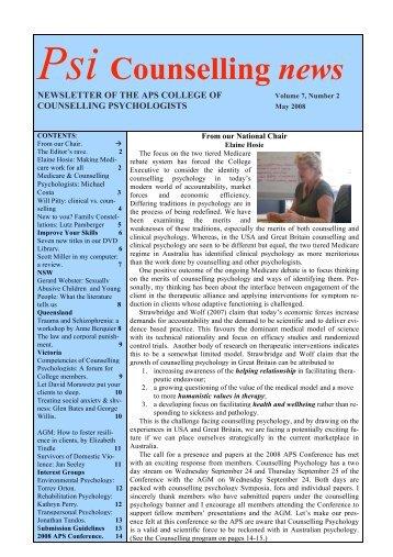 Psi Counselling News 08-05 - APS Member Groups - Australian ...