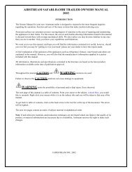 airstream safari-bambi trailer owners manual 2003 warning