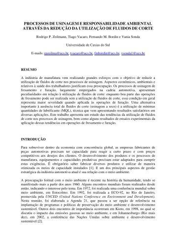 processos de usinagem e responsabilidade ambiental através da ...