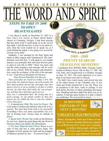 February 2008 Newsletter - Randall Grier Ministries