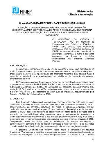 chamada pública mct/finep – pappe subvenção - Inovação Unicamp
