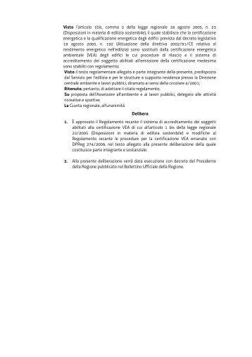 Decreto del Presidente della Regione n. 199 del 25 agosto 2010