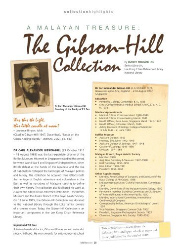 the Gibson-Hill Collection - National Library Singapore